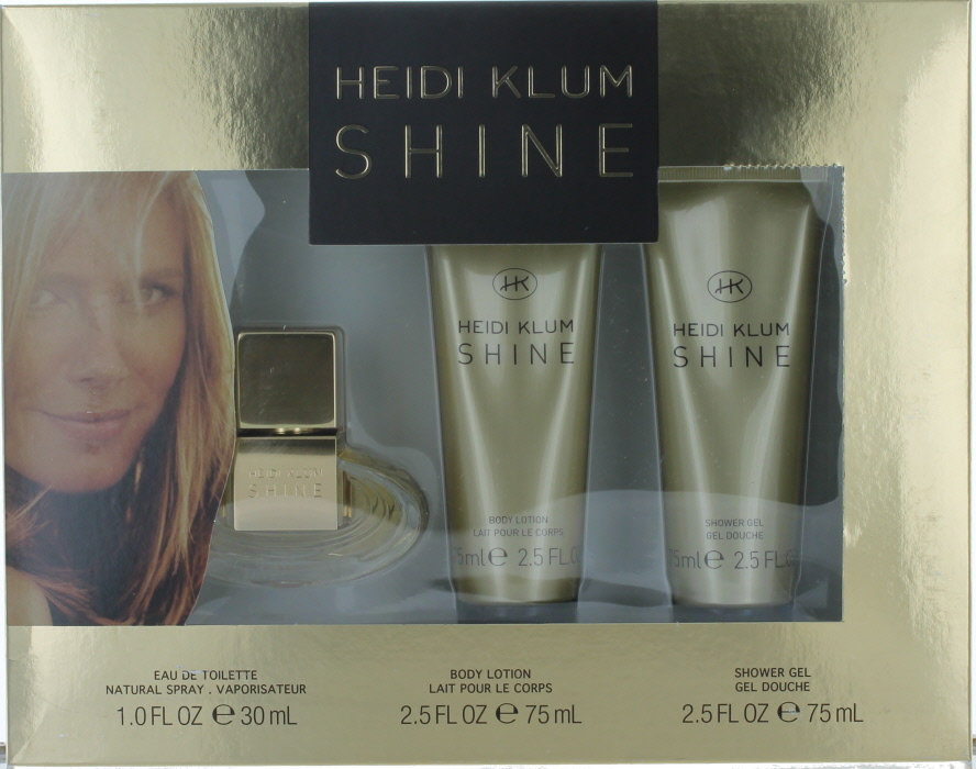 Shine by Heidi Klum for Women Set-EDT Perfume Spray 1 oz.+Shower Gel 2.5 oz.+Body Lotion 2.5 oz.-Shopworn NEW
