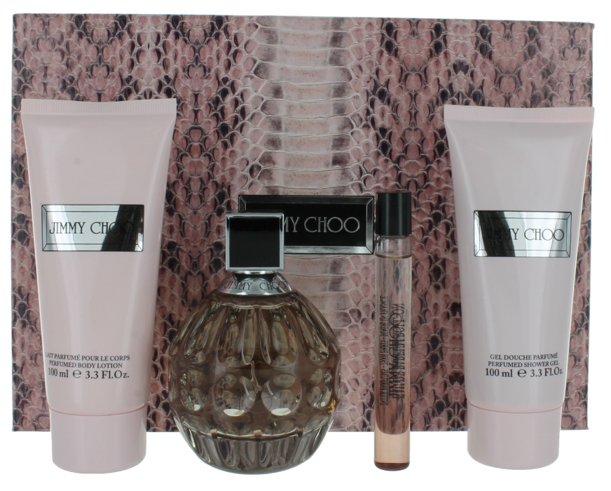 403ad62bbdb2 Jimmy Choo by Jimmy Choo for Women Set - EDP Spray 3.3oz + BL 3.3oz + SG 3.3 oz + Miniature EDP Roll-on 0.33oz