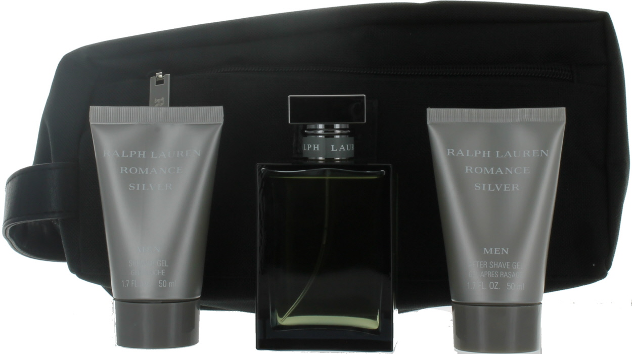 2e999ee0d Romance Silver by Ralph Lauren for Men Set-EDT Cologne Spray 3.4  oz.+Aftershave Gel 1.7 oz.+Shower Gel 1.7 oz.+Bag NIB