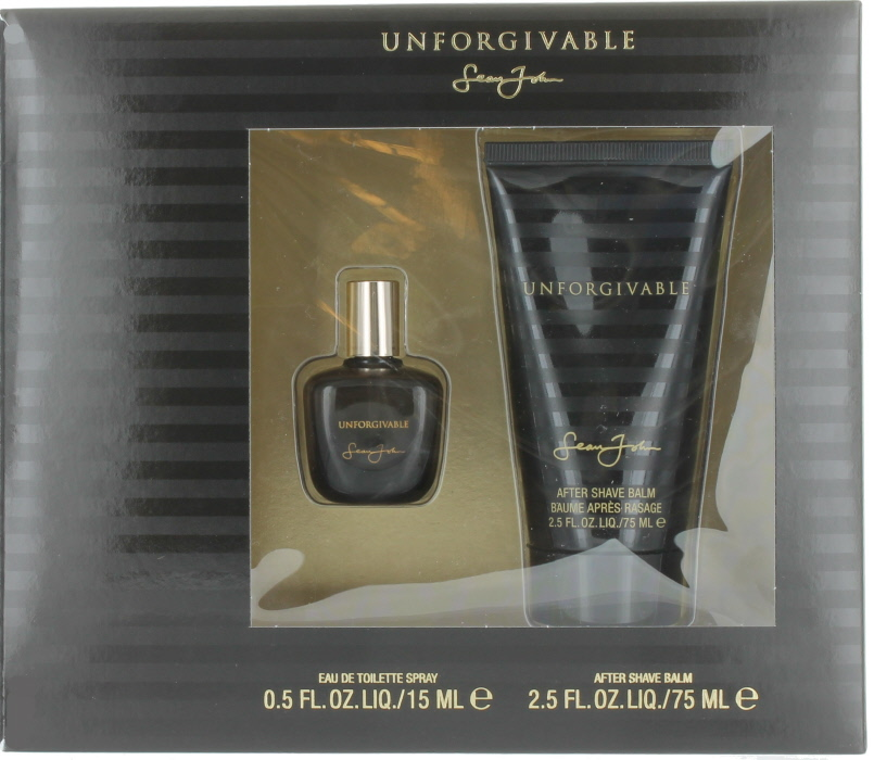 Unforgivable by Sean John for Men Set - Mini EDT Cologne Spray 0.5 oz. + Aftershave Balm 2.5 oz. New in Box